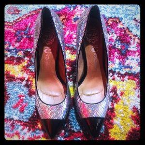 DAZZLING🤩 Hologram Snakeskin Leather Heels!